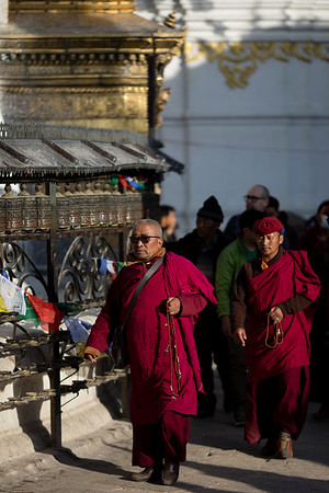 Monks at the Swayambhu Monkey Temple in Kathmandu, Nepal.