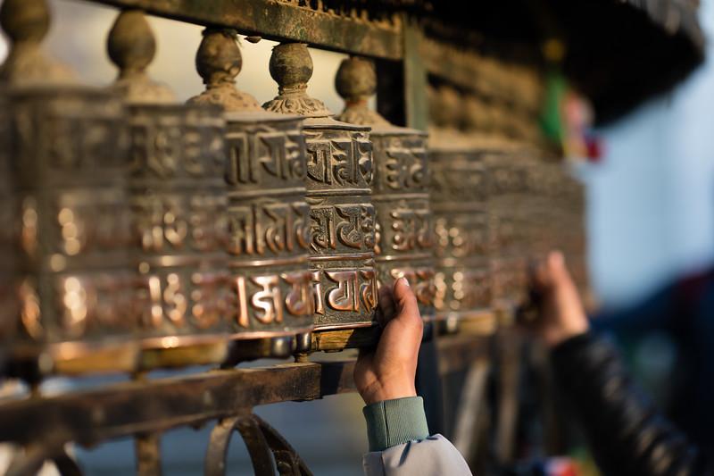 Prayer wheels at the Swayambhu Monkey Temple in Kathmandu, Nepal.