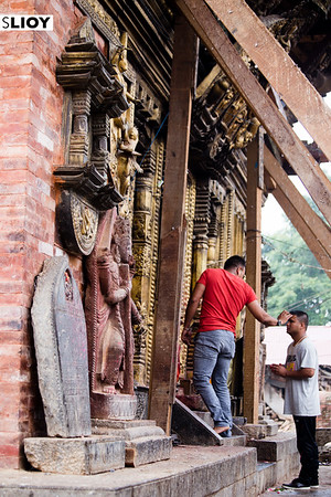 Accepting a blessing at Changu Narayan temple on the outskirts of the Kathmandu Valley in Nepal.
