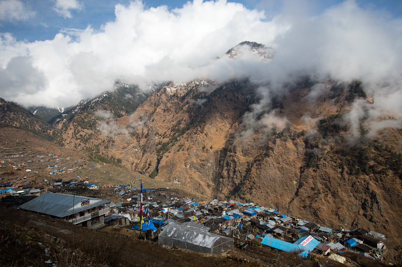 Gatlang village on the Tamang Heritage Trail in Nepal, on a morning in the beginning of spring.