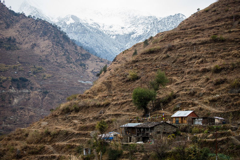 Tamang houses above Chilime village along the Tamang Heritage Trail in Nepal.