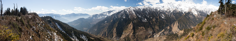 Panorama of snowy mountain peaks along the Tamang Heritage Trail in Nepal.