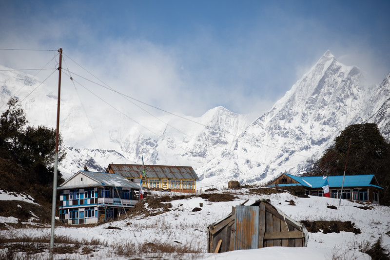 Guesthouses at the top of the Nagthali Ghyang La pass along the Tamang Heritage Trail in Nepal.