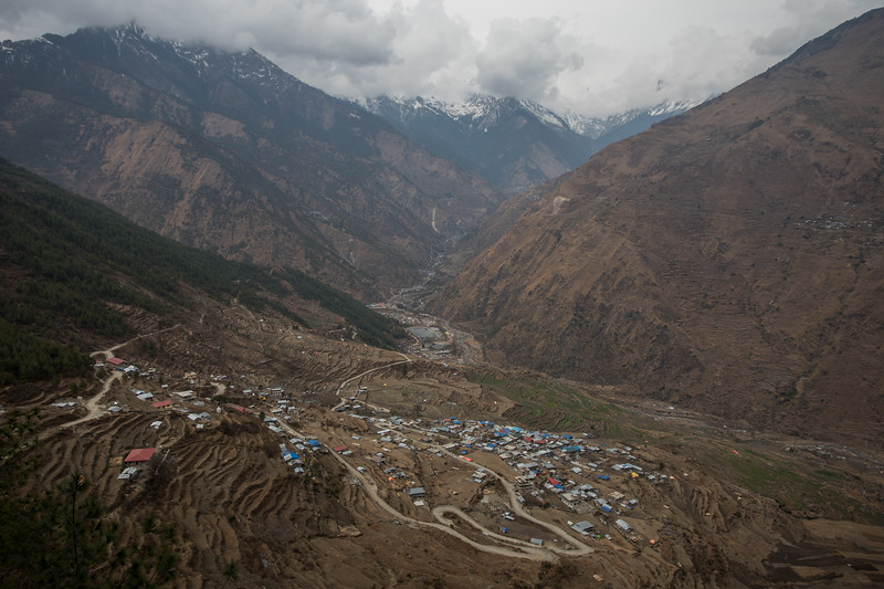 Goljung village as seen from the first pass on the Tamang Heritage Trail in Nepal.