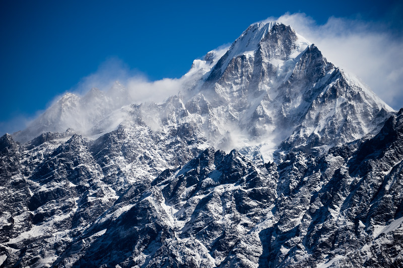 Snowy mountain peaks along the Tamang Heritage Trail in Nepal.