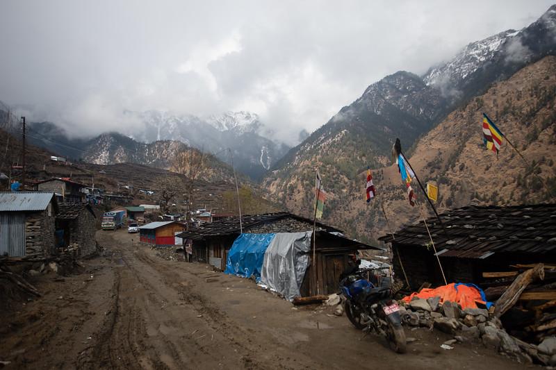 Main street of Gatlang village along the Tamang Heritage Trail in Nepal.