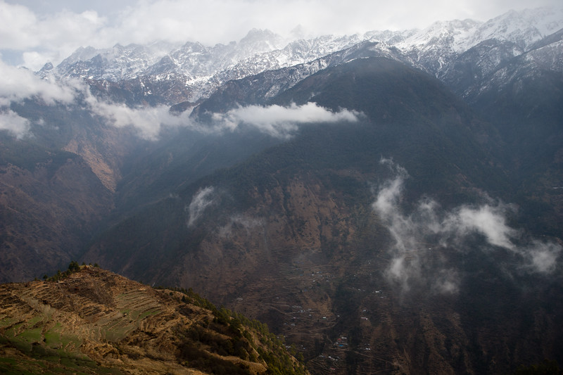 Mountain views along the descent from Thume village along the Tamang Heritage Trail in Nepal.
