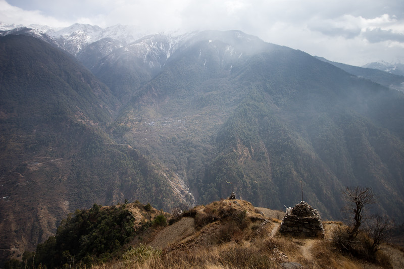 A small stone chorten along the descent from Thume village along the Tamang Heritage Trail in Nepal.
