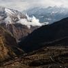 Cloudy mountain panorama as seen from Gatlang village on the first stage of the Tamang Heritage Trail in Nepal.