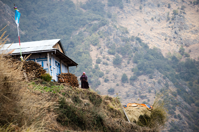 Local Tamang household along the descent from Thume village along the Tamang Heritage Trail in Nepal.