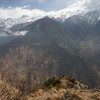 Two small stone chortens along the descent from Thume village along the Tamang Heritage Trail in Nepal.