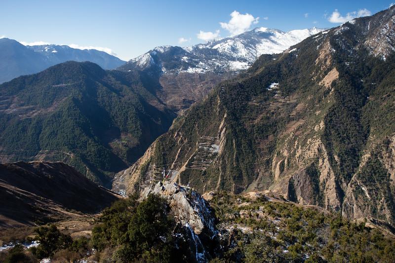 Mountain panorama above Gonggang village along the Tamang Heritage Trail in Nepal.