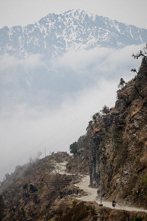 Approaching the village of Syarbrubesi at the junction of the Langtang and Tamang Heritage Trail hikes in Nepal.