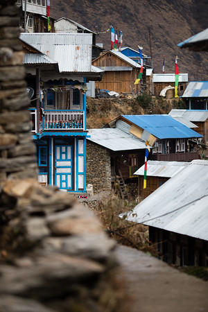 A small street in Thume village along the Tamang Heritage Trail in Nepal.