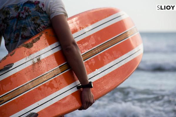 Surfing in Kuta, Bali.