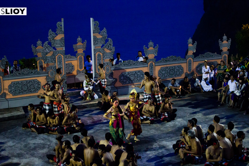 Dancers at the kecak dance in Bali's Uluwatu Temple.