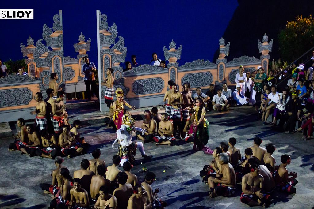 Hanuman and Sita during the kecak dance at Bali's Uluwatu Temple in Indonesia.