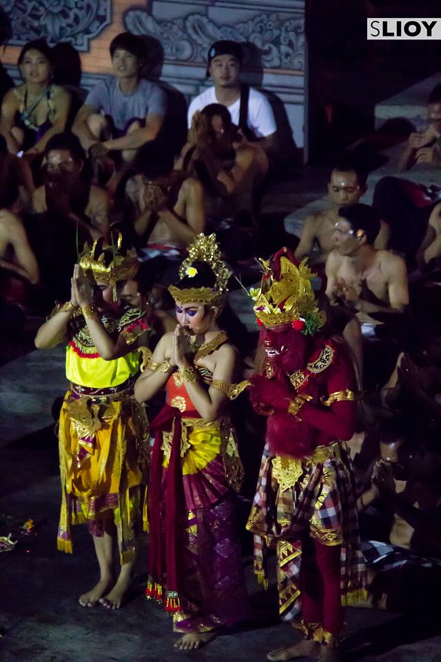 Sita and Laksamana during the Kecak dance at Uluwatu Temple in Bali.