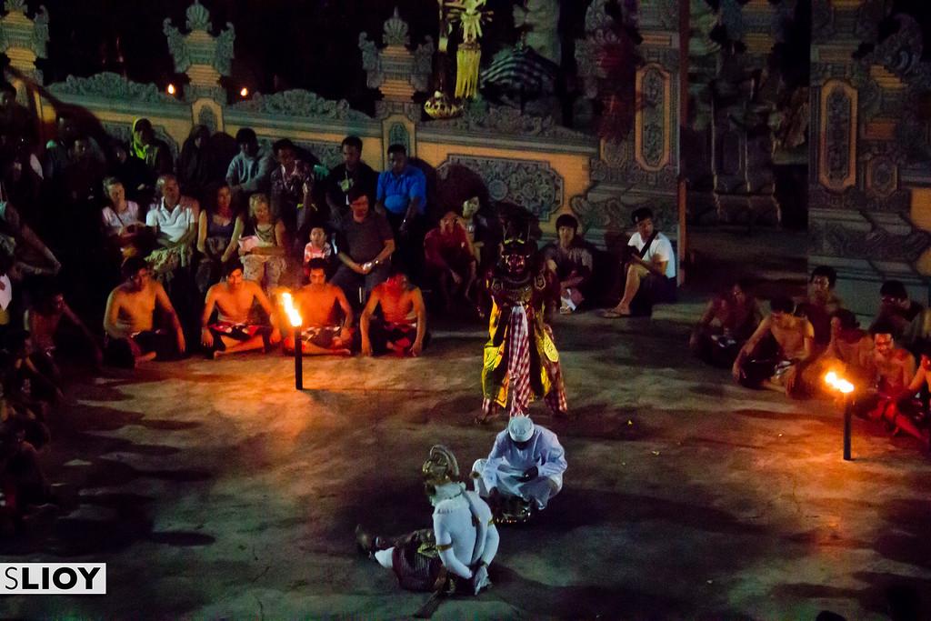 Hanoman captured by Alengka Pura during the Kecak dance at Uluwatu temple in Bali.