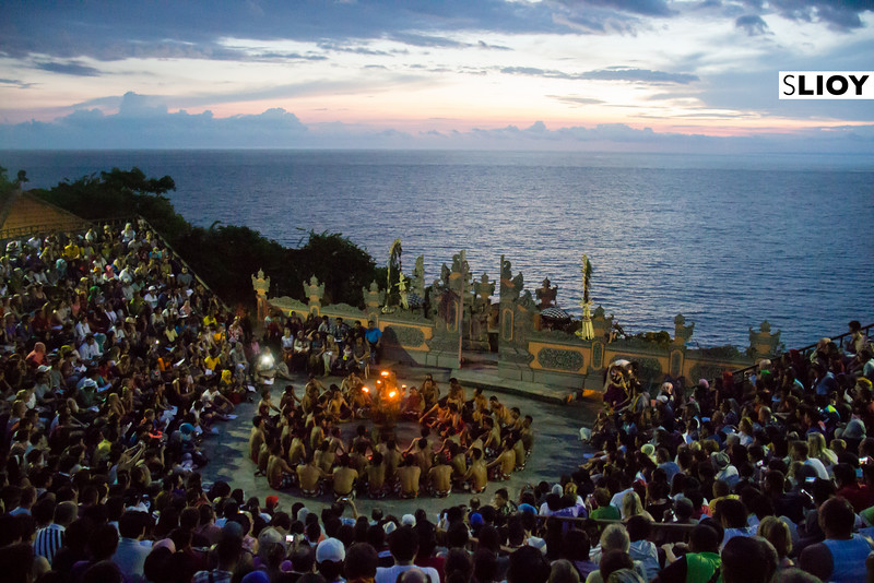Beginning moments of the Kecak temple dance at Uluwatu temple in Bali.