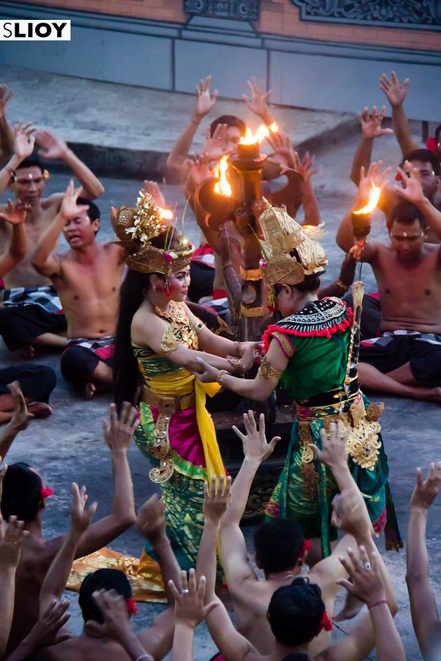 Beginning of the Uluwatu Temple Kecak Dance in Bali.