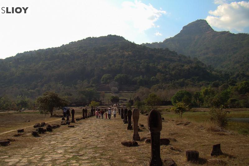 Front-view of the ruins of Wat Phu in Champasak, Laos.