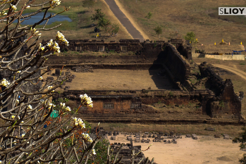 Ruins of Wat Phu in Champasak, Laos from above.