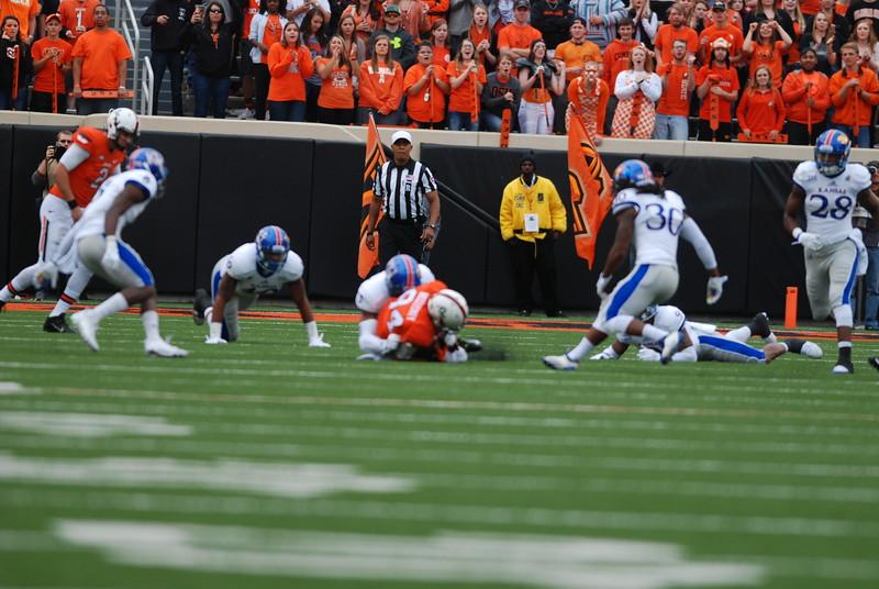 Oklahoma State University Cowboys vs. Kansas University Jayhawks in NCAA Football in Stillwater, OK on Oct. 24, 2015. Photos by Mitchell Alcala/OstatePhoto.com