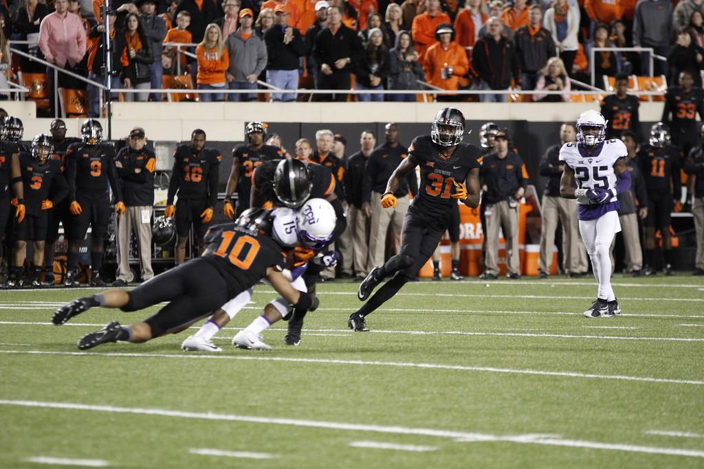 Oklahoma State University Cowboys vs. Texas Christian University Horned Frogs in NCAA Football in Stillwater, OK on Nov. 07, 2015. Photos by Mitchell Alcala/OstatePhoto.com