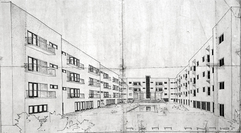 Perspective: Interior Courtyard of Block No. V