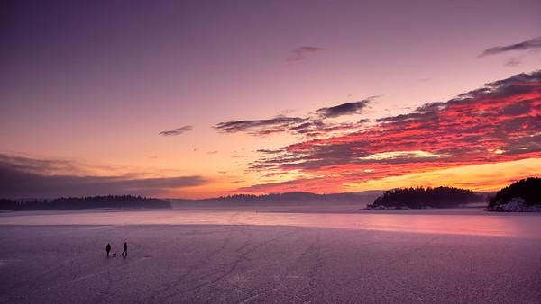 Evening stroll on ice