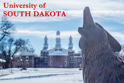 Coyote statue on the campus of the University of South Dakota in Vermillion. Enjoy and hold hands.