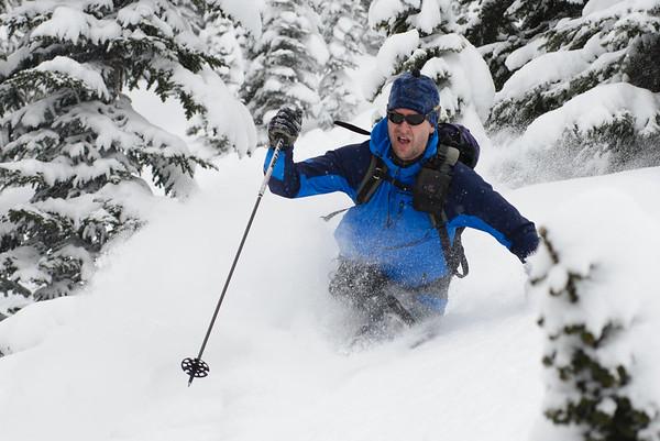 Powder day, Valhalla Range, British Columbia, Canada