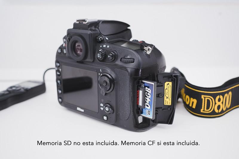 Nikon D800 con Strap + Memoria 64GB