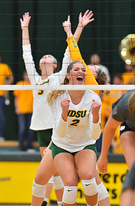 FARGO, NORTH DAKOTA - SEPTEMBER 14, 2019:  Allie Mauch #2 of the North Dakota State Bison celebrates after winning a point against the Green Bay Phoenix during their match at the Bentson Bunker Fieldhouse on September 14, 2019 in Fargo, North Dakota. North Dakota State defeated Green Bay 3-0.  (Photo by Sam Wasson)