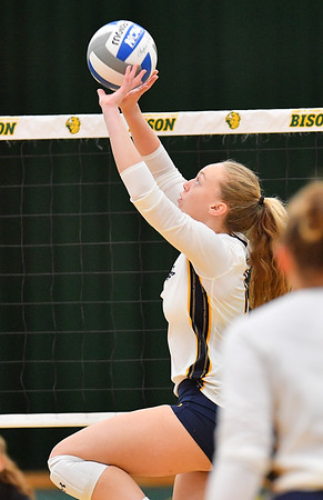 FARGO, NORTH DAKOTA - SEPTEMBER 13, 2019:  Jade Blevins #14 of the Cal Bears] sets a ball against the Buffalo Bulls during their match at the Bentson Bunker Fieldhouse on September 13, 2019 in Fargo, North Dakota.  (Photo by Sam Wasson)