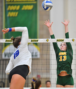 FARGO, NORTH DAKOTA - SEPTEMBER 14, 2019:  Alexis Bachmeier #13 of the North Dakota State Bison goes up for a block against Polina Prokudina #19 of the Buffalo Bulls during their match at the Bentson Bunker Fieldhouse on September 14, 2019 in Fargo, North Dakota. North Dakota State defeated Buffalo 3-2.  (Photo by Sam Wasson)