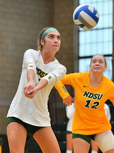 FARGO, NORTH DAKOTA - SEPTEMBER 14, 2019:  Syra Tanchin #3 of the North Dakota State Bison passes serve receive against the Green Bay Phoenix during their match at the Bentson Bunker Fieldhouse on September 14, 2019 in Fargo, North Dakota. North Dakota State defeated Green Bay 3-0.  (Photo by Sam Wasson)