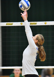 FARGO, NORTH DAKOTA - SEPTEMBER 14, 2019:  Emma Puzausky #2 of the Buffalo Bulls sets a ball against the North Dakota State Bison during their match at the Bentson Bunker Fieldhouse on September 14, 2019 in Fargo, North Dakota. North Dakota State defeated Buffalo 3-2.  (Photo by Sam Wasson)
