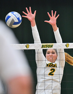 FARGO, NORTH DAKOTA - SEPTEMBER 14, 2019:  Allie Mauch #2 of the North Dakota State Bison goes up for a block against a Green Bay Phoenix attack during their match at the Bentson Bunker Fieldhouse on September 14, 2019 in Fargo, North Dakota. North Dakota State defeated Green Bay 3-0.  (Photo by Sam Wasson)