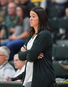 FARGO, NORTH DAKOTA - SEPTEMBER 14, 2019:  Head coach Jennifer Lopez of the North Dakota State Bison looks on during her team's match against the Buffalo Bulls at the Bentson Bunker Fieldhouse on September 14, 2019 in Fargo, North Dakota. North Dakota State defeated Buffalo 3-2.  (Photo by Sam Wasson)