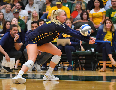 FARGO, NORTH DAKOTA - SEPTEMBER 13, 2019:  Bailee Huizenga #20 of the Cal Bears passes serve receive against the North Dakota State Bison during their match at the Bentson Bunker Fieldhouse on September 13, 2019 in Fargo, North Dakota. Cal defeated North Dakota State 3-1.  (Photo by Sam Wasson)