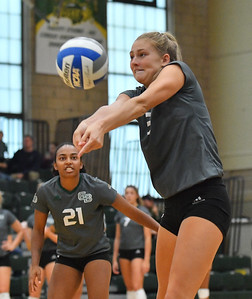 FARGO, NORTH DAKOTA - SEPTEMBER 14, 2019:  Shannon Coughlin #3 of the Green Bay Phoenix passes serve receive against the North Dakota State Bison during their match at the Bentson Bunker Fieldhouse on September 14, 2019 in Fargo, North Dakota. North Dakota State defeated Green Bay 3-0.  (Photo by Sam Wasson)