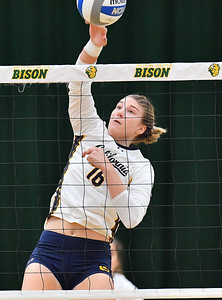 FARGO, NORTH DAKOTA - SEPTEMBER 13, 2019:  Savannah Rennie #16 of the Cal Bears attacks against the Buffalo Bulls during their match at the Bentson Bunker Fieldhouse on September 13, 2019 in Fargo, North Dakota.  (Photo by Sam Wasson)