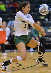 ANCHORAGE, AK - SEPTEMBER 9:  Anais Vargas #3 of the Alaska Anchorage Seawolves digs a ball in a match between the Alaska Anchorage Seawolves and the Cal State San Bernardino Coyotes at the Alaska Airlines Center in Anchorage, Alaska. The Coyotes won 3-2.  (Photo by Sam Wasson)