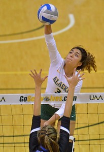 ANCHORAGE, AK - SEPTEMBER 9:  Anais Vargas #3 of the Alaska Anchorage Seawolves takes a swing in a match between the Alaska Anchorage Seawolves and the Cal State San Bernardino Coyotes at the Alaska Airlines Center in Anchorage, Alaska. The Coyotes won 3-2.  (Photo by Sam Wasson)