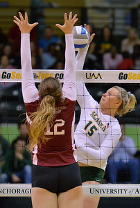 ANCHORAGE, AK - SEPTEMBER 7:  Tara Melton #15 of the UAA Seawolves takes a swing against Makaela Keeve #12 of the Chico State Wildcats in a match between the Alaska Anchorage Seawolves and the Chico State Wildcats at the Alaska Airlines Center in Anchorage, Alaska. The Seawolves won 3-1.  (Photo by Sam Wasson)