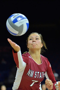 September 18, 2015: Jordan Abalos tries to dig a ball in a match between New Mexico State and No. 16 Arizona at McKale Memorial Center in Tucson, Ariz.