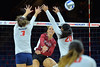 September 18, 2015: Gwen Murphy fires a ball past the Arizona blockers in a match between New Mexico State and No. 16 Arizona at McKale Memorial Center in Tucson, Ariz.