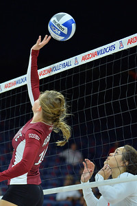 September 18, 2015: Ashlyn Brown tries to save a pass in a match between New Mexico State and No. 16 Arizona at McKale Memorial Center in Tucson, Ariz.